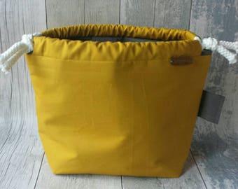 Small drawstring bag, Canvas bag, Knitting project bag, Sock bag, Shawl project bag, Crochet project bag, Yarn storage,