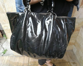 b48b625beb large vintage black and gray tote bag shopper