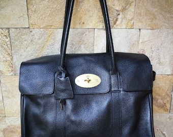 d6305099bac1 Mulberry heritage Bayswater large black grain leather handbag