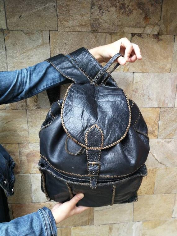 Vintage Leather backpack, black backpack, travel b