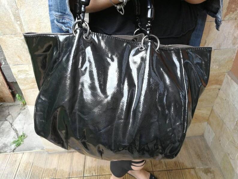 f933abc821532 large vintage black and gray tote bag shopper, Vintage two side bag, Unique  Handbag Ladies Purse, Tote Bag, Large bag, zara bag, zara tote