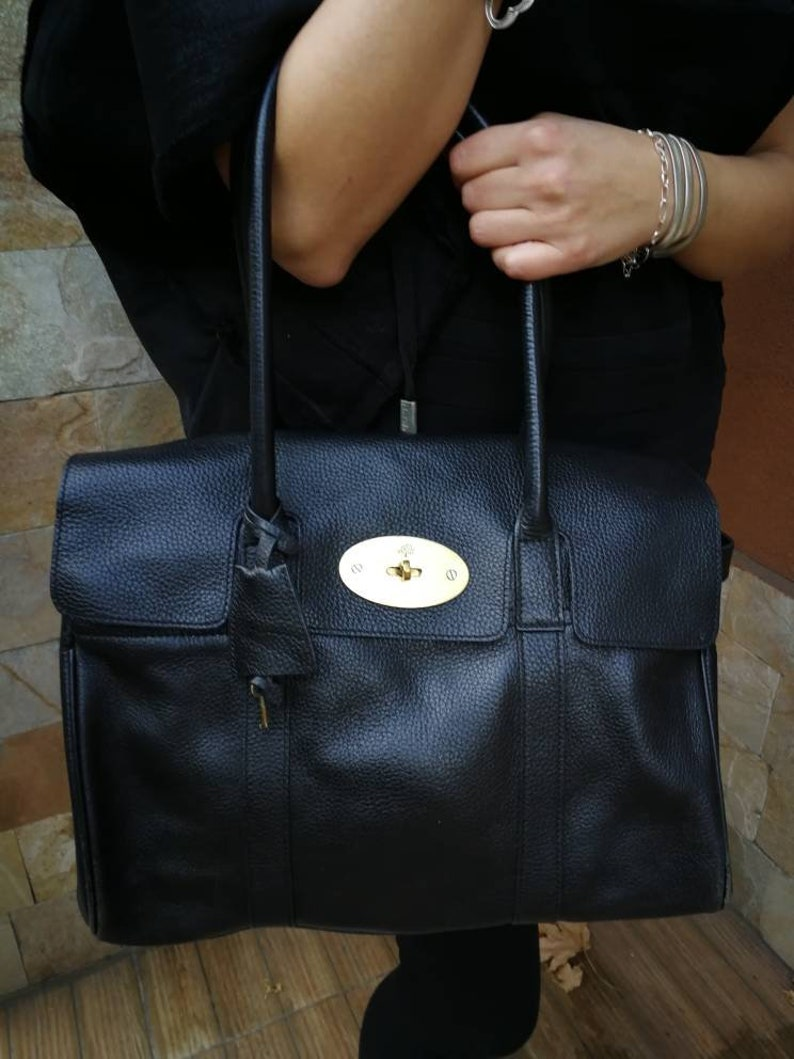 0804bb56da9a Mulberry heritage Bayswater large black grain leather handbag