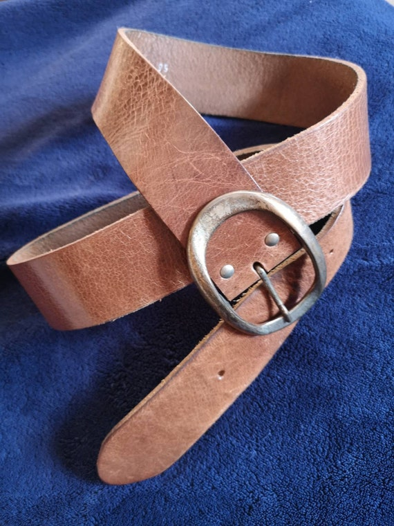Vintage Red Label belt, Leather Belt, Full Grain L