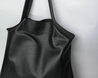 Real leather tote bag, Black bag, tote bag, Women Carry Bag, Office leather Bag, Everyday Bag