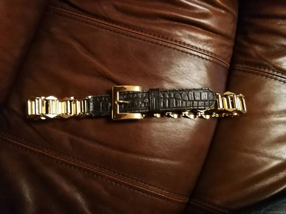 Vintage gold and leather belt, Gold Chain Black Le