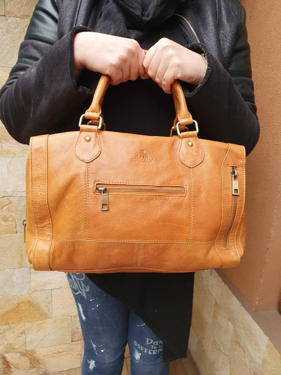 Vintage Tan Leather Bag, Vintage Saddle Bag, Tan l