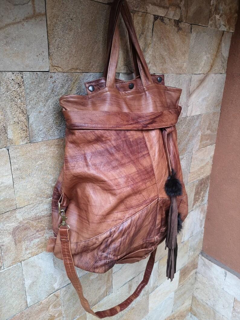 Tote Bag  Leather Handbag Women/'s Handbag artistic Leather bag BOHO leather bag Tote Bag Soft leather bag Large brown bag