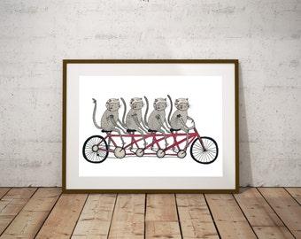 Tandem bicycle Cat Gang - Original Watercolor Illustration    Print