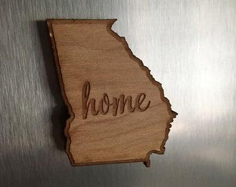Georgia Magnet, Home Magnet, Refrigerator Magnet, Office Magnet, Georgia, Home, Wood Magnet, Home Decor
