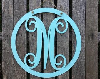 painted circle front door hanger circle monogram vine monogram script monogram door hanger front door wreath painted door hanger