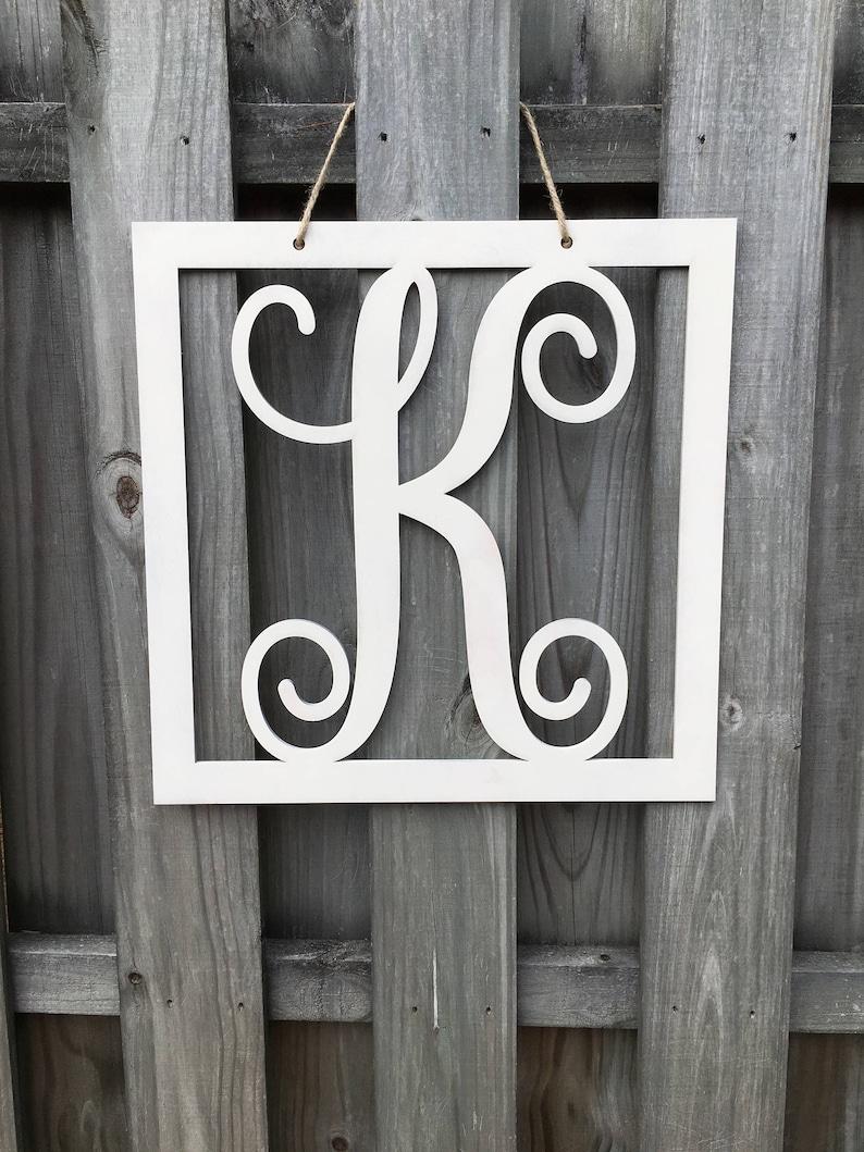 Script Monogram Square Door Hanger Painted Square single letter door hanger Vine Monogram