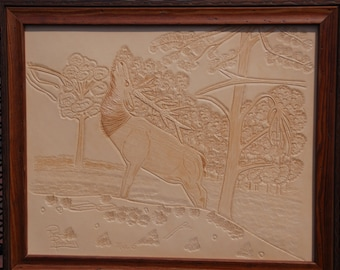 Elk Leather Hand carved Leather Picture, Elk Leather Hand Tooled Picture, Elk Leather Picture Who Knew Where to Scratch