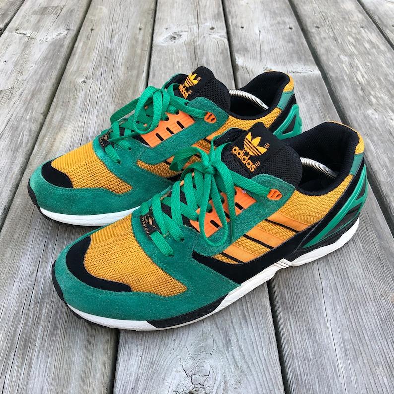 adidas Originals ZX 8000 Size 12 US Men's Fresh Green Zest Orange D65459 Torsion Running Shoes Sneakers Footwear Trainers Rare Vintage Cool