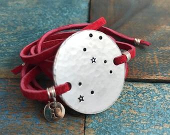 Leo bracelet / Wrap Bracelet /Leather Bracelet / Leo Constellation / Zodiac Jewelry / Birthday Gift / Southwestern Jewelry/ Custom Bracelet