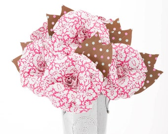MOTHER'S DAY Paper Flowers PINK Damask Roses & Polka Dot Leaves, Handmade Paper Roses Arrangement, Unique Gifts for Mom Anniversary Birthday