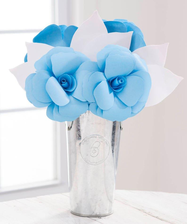 Big Little Gift SORORITY Greek Paper Flowers Paper Roses Arrangement LIGHT BLUE /& White with Custom Options Big Sister Little Sister