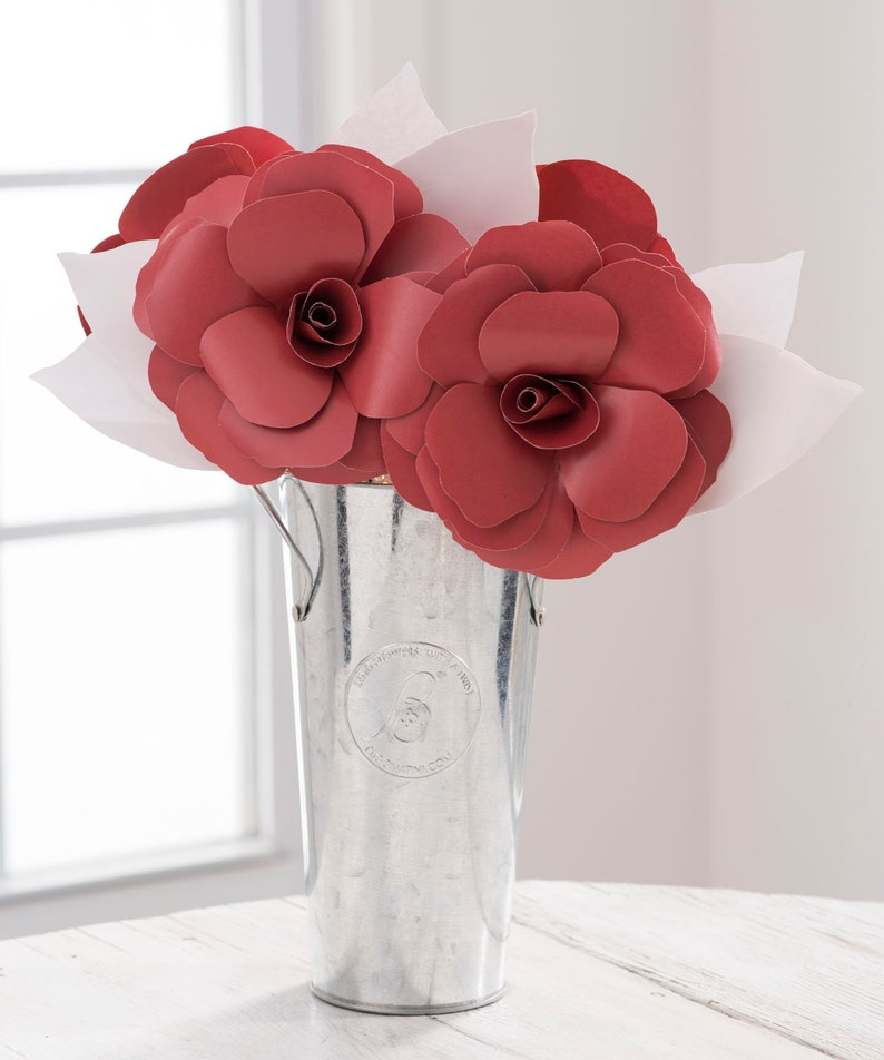 SCHOOL COLORS Paper Flowers Paper Roses Arrangement MAROON /& White w Custom Options Graduation 2018 Team Colors University Colors