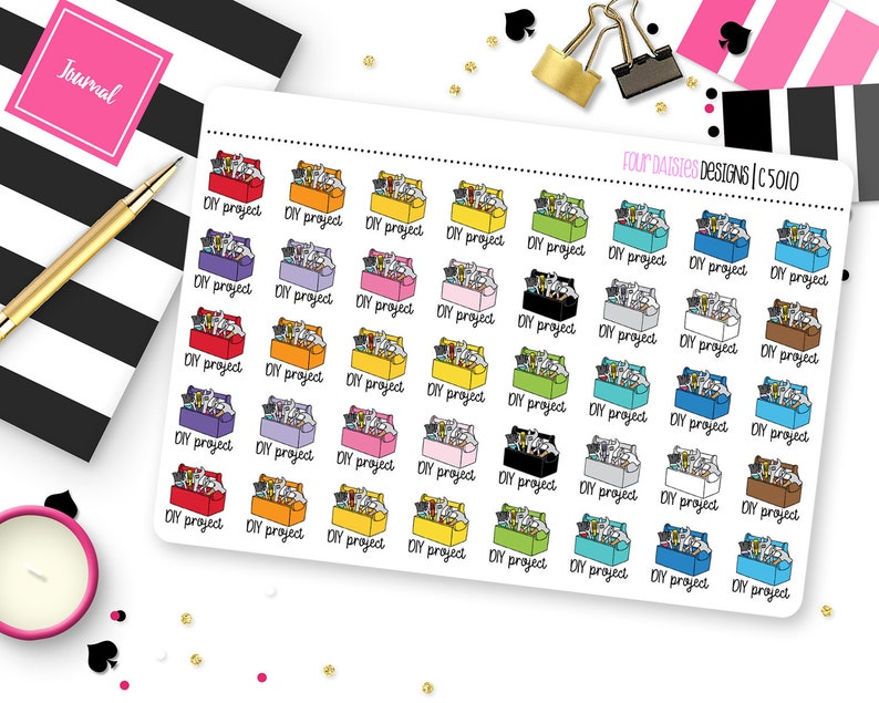 40 DIY Project Planner Stickers for Erin Condren Life Planner image 0