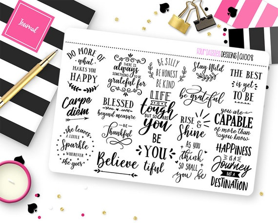 Inspirational Quotes Planner Stickers For Erin Condren Life Etsy