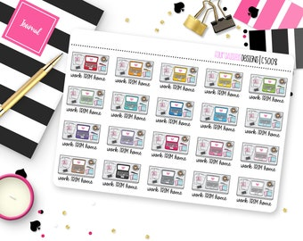 20 Work From Home Planner Stickers for Erin Condren Life Planner, Plum Paper or Mambi Happy Planner || C5008