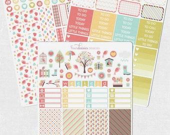 Spring Garden Weekly Kit for Erin Condren Life Planner, Plum Paper, Filofax or Kiki K Planners, Calendar or Scrapbook