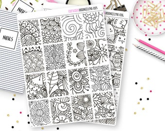 16 Coloring Box Planner Stickers for Erin Condren Life Planner, Plum Paper or Mambi Happy Planners