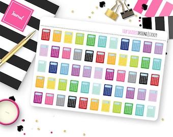 55 Calculator Planner Stickers for Erin Condren Life Planner, Plum Paper or Mambi Happy Planner    I2009