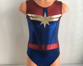 3808ac702a7c Captain Marvel Themed Leotard - Gymnastics Leotard - Dance Leotard - Size  2T, 3T, Girls 4 - 16, Adult XS - XL