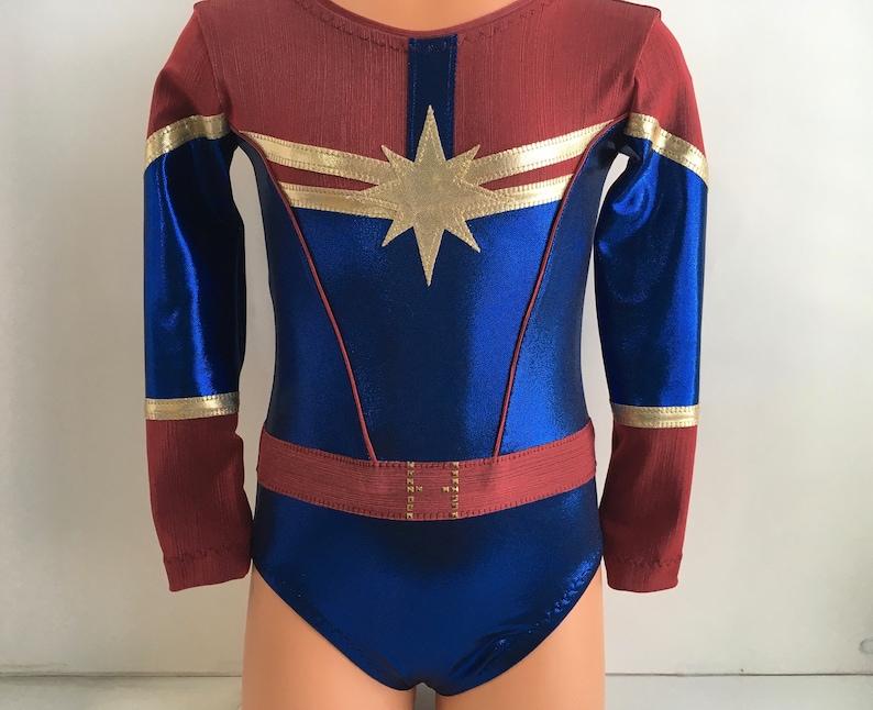 Girls 4-16 XL Gymnastics Leotard 3T Captain Marvel Themed Long Sleeve Leotard Size 2T Dance Leotard Adult XS