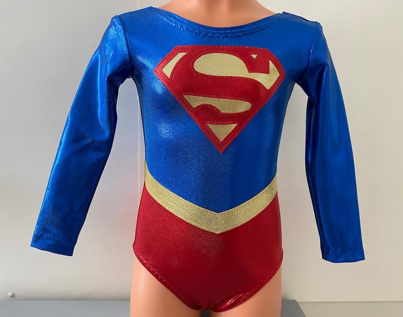 Gymnastics Leotard 3T Girls 4-16 Supergirl Themed Long Sleeve Leotard Adult XS XL Size 2T Dance Leotard