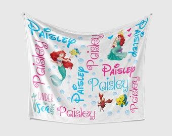 Baby Blanket Plush Faux Fur Gorgeous Custom Name Watercolor Disney Princess Baby Blanket Featuring Minky