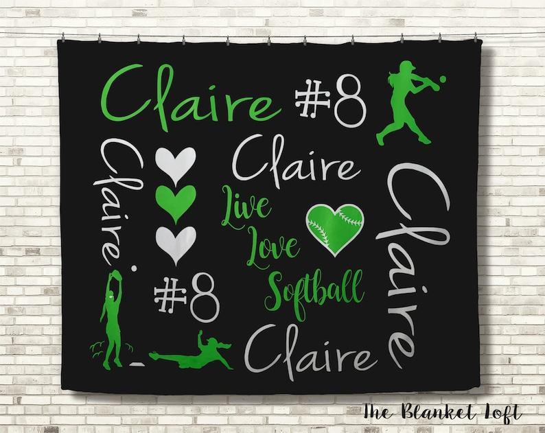 Gift for Girls Personalized Softball Blanket Sports Gift Custom Blanket Softball Blanket Personalized Blanket Team Spirit Blanket