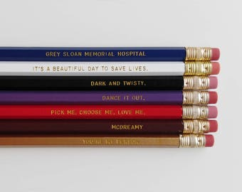 Greys Anatomy Engraved Pencil Set Youre My Person Nurse Gift Gold Foil Pencil Set Engraved Pencils Funny Pencils Gift for Nurse Student Gift