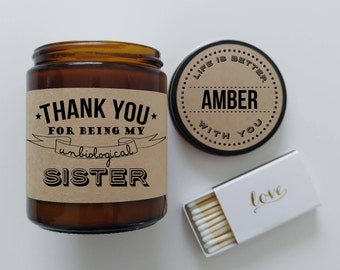 Unbiological Sister Gift Best Friend Gift Soy Candle Gift for Friend Scented Candle Birthday Gift Holiday Gift Christmas Gift