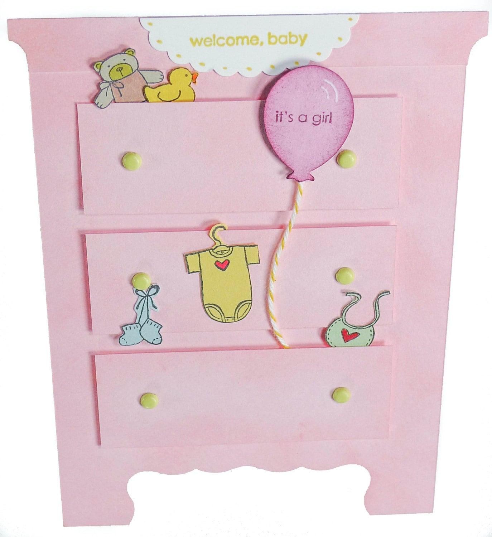 2-Baby Mädchen Rosa Kommode Karte mit Rubber Duckie Ballon   Etsy