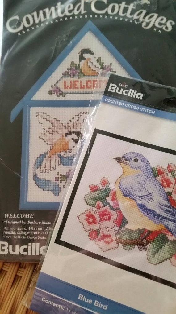 "Bucilla  BLUEBIRD Counted Cross Stitch 5/"" x 7/"""