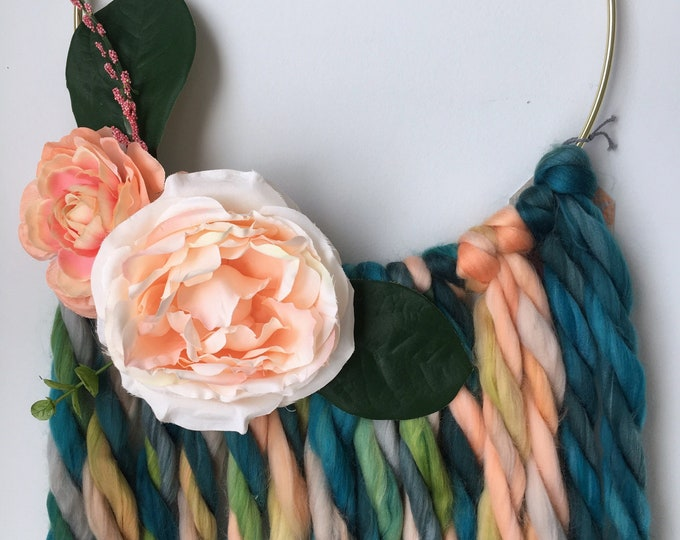 Featured listing image: Medium Teal + Peach Unicorn Tail Floral Hoop