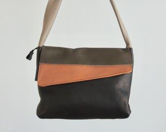 Design shoulderbag 'Dune', minimal design, green/black/copper, messengerbag