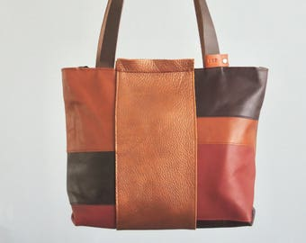 Leather design Tote bag 'Land', brown coloured bag, exclusive, unique, shoppingbag