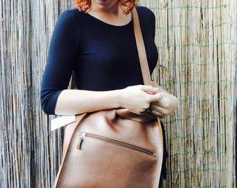 Dutch design shoulderbag 'Copper', shiny leather bag, straight-cut design