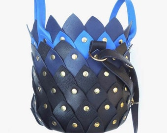 Leather 'Flowerpower poetry' handbag, three colours, blue/orange/black bag, extravagant design, poem of love, collector, party, slow fashion