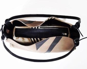 Bag in bag, leather, handpainted, shopper
