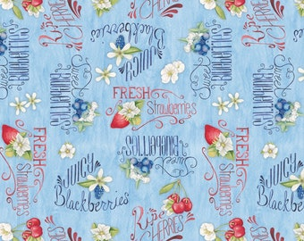 "words 13003-431 Blue Sold by 1//4 yd Berry Sweet 44/"" quilt fabric berries"