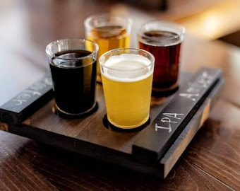 Craft Beer Flight Board w/tasting glasses & removable chalkboard slides. Unique Beer Lover Gift! Compact / easy to carry. USA handmade.