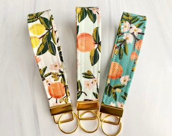 Rifle Paper Co. Key Fob Wristlet   Fabric Key Chain   Free Shipping - Citrus Floral - 3 colors