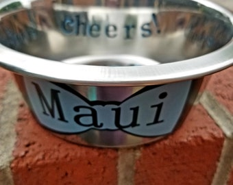 Personalized handmade stainless-steel dog bowl