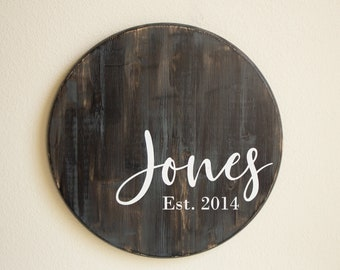 Rustic Weathered Round Wood Home SignDistressed Wall Decor20-30 solid wood circle signwelcomeentrywayhome wall decorshelf decorhome