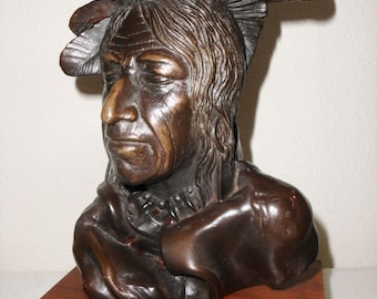 ARNOLD GOLDSTEIN Native American SIGNED Sculpture Bust Resin Bronze From 1978