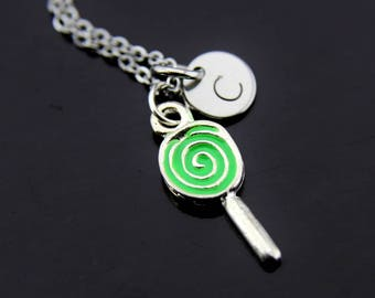 Foodie Gift Green Silver Lollipop Charm Necklace Lollipop Charm Lollipop