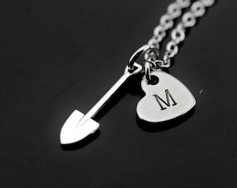 Gardening Gift Shovel Necklace Garden Jewelry Gardener Jewelry Gardening Jewelry Christmas Gift Personalized Initial Necklace